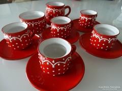 Piros kerámia kávéskészlet, jelzett