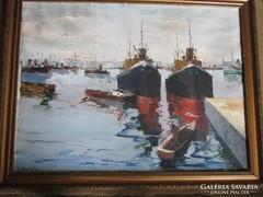 Szabó Béla Leó sz.1887 csodaszép ov.kikötői hajós festménye