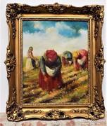 Pirhalla Nándor (1884-?) Kalász szedők antik olajfestmény