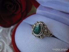 Csodálatos, filigrán természetes SMARAGD 925 ezüst gyűrű
