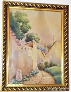 Tibai Takács Jenő (1876-1943) Eger antik festmény 56x44cm
