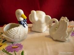 Porcelán elefánt, hattyú, kacsa együtt a 3 db