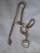 Viktoriánus ezüst zsebóra lánc korabeli hegyikristállyal 40
