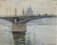 Szlányi Lajos: A Parlament a Margit híd felől