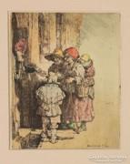 Rembrandt után...színezett régi rézkarc