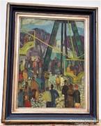 Farkas Lídia (1910-1985) Körhinta 100x80cm olajfestménye