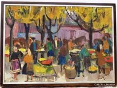 Farkas Lídia (1910-1985) Vásár piac 75x55cm olajfestménye