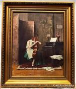 Komáromi Kacz Endre (1880-1969) Életkép 87x74cm olajfestmén