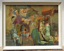 Takács klára (1947-) Emlékek 86x66cm Képcsarnokos olajfestm