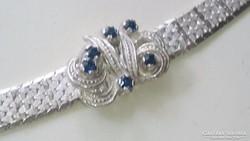 Ezüst karlánc karkötő 925. Kék cirkon.