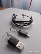 USB-ékszer - Karkötő és fülbevaló újrahasznosított anyagból