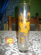 Henger alakú kézzel festett üveg váza
