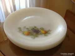 Gyümölcs mintás tejüveg jénai arcopal tányérok Hőálló,