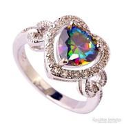 Meseszép, romantikus, szivárvány topáz köves 925 gyűrű 10