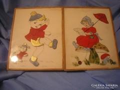 N1 Akvarell művészi bájos festmény üveglapos 27x21 cm