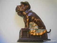 Antik karikatúra persely Bull Dog öntvény borostyán szem U7