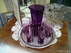 Padlizsán lila szépséges art deco boros készlet