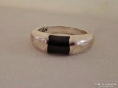 Elegáns  régi onixköves ezüstgyűrű