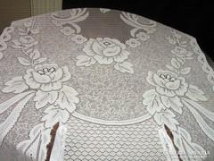 Meseszép különleges hófehér vintage rózsás vitrázs függöny