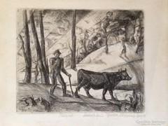 Derkovits Gyula: Hazafelé, 1922  rézkarc