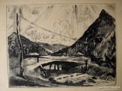 Aba-Novák Vilmos: Hegyi patak Felsőbányán, 1927, rézkarc