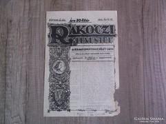 Rákóczi Leventéi Felvidéki lap egyetlen eredeti példánya!