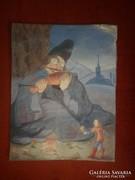 Régi mesejelenetes akvarell festmény