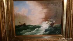 Olaj farost Háborgó tengeren vitorlás hajók