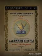 Francia libamájkonzerv árjegyzék. Conserves de luxe. 1900 k