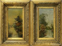 0L868 Ismeretlen festő : Vízparti táj párban