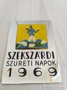Szekszárdi szüreti napok tűzzománcozott plakett 1969