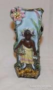 Antik Figurális Majolika Váza