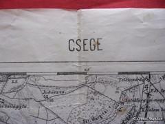 Csege régi térképe 63 cm x 48 cm,  antik térkép