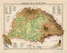 Magyarország hegy- és vízrajzi térkép 1915, régi