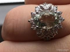 Zöld ametiszt köves antik ezüst gyűrű