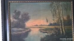 Csendes patak naplementében síkvidéken