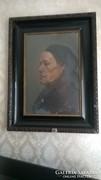 Idős asszony - portré, jegyzett kép
