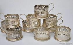 10 darab antik ezüst pohártartó