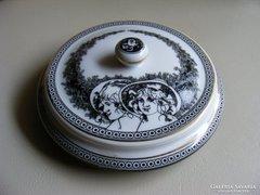 Hollóházi Jurcsák  porcelán ékszertartó cukortartó