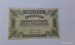 Ötvenezer Adópengő,vizjeles papir 1946!