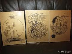 Borsos Miklós grafikák Dante Isteni színjáték sorozat I-IX