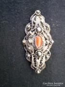 Gyönyörű Antik ezüst bross + medál lánccal