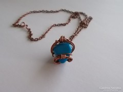 Drótékszer, nyaklánc, medál - kék kővel, ásvánnyal