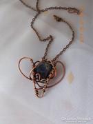 Blue Heart - Drótékszer, nyaklánc, medál - kék kővel