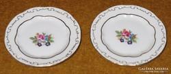 Zsolnay virágos, fehér mini tányér pár