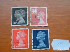 ANGOL 4 DB 20 + 25 PENNY + 4 + 5 D II. ERZSÉBET KIRÁLYNŐ 55.