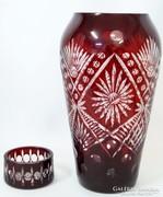 Gyönyörű szép régi nagyméretű bordó csiszolt üveg váza
