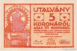 GANZ TÖRZSGYÁR, 5 KORONA, 1919 - hajtatlan - Sorszámos!