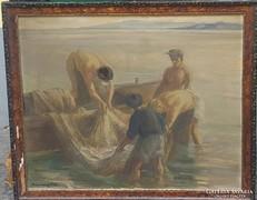 Udvary Pál : Balatoni halászok