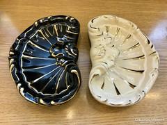 Zsolnay nagy kagylós tálak - 18 karátos arany díszítéssel